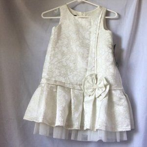 Ivory and gold pleated brocade party dress